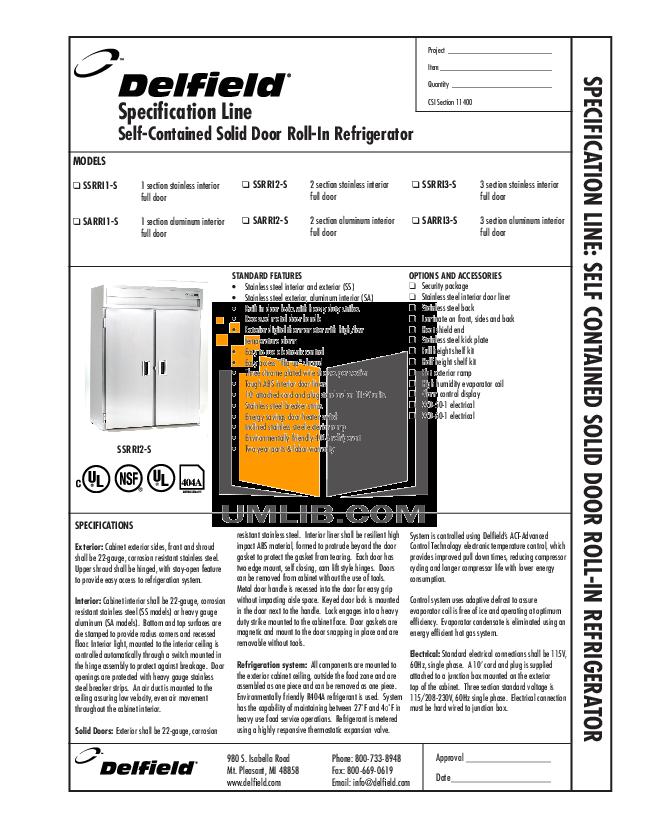 pdf for Delfield Refrigerator SARRI1-S manual