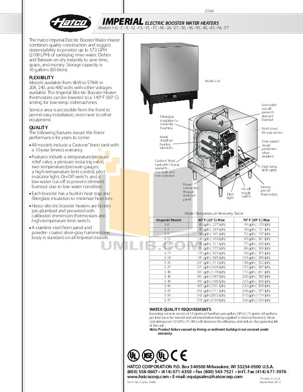 pdf for Hatco Other S-27 manual