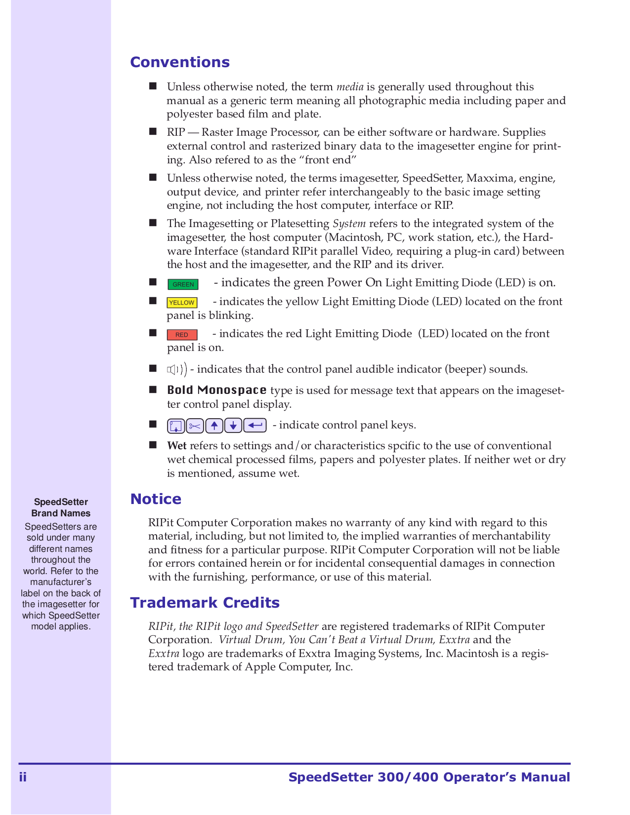 Xante Printer ExxtraSetter ExxtraDry pdf page preview