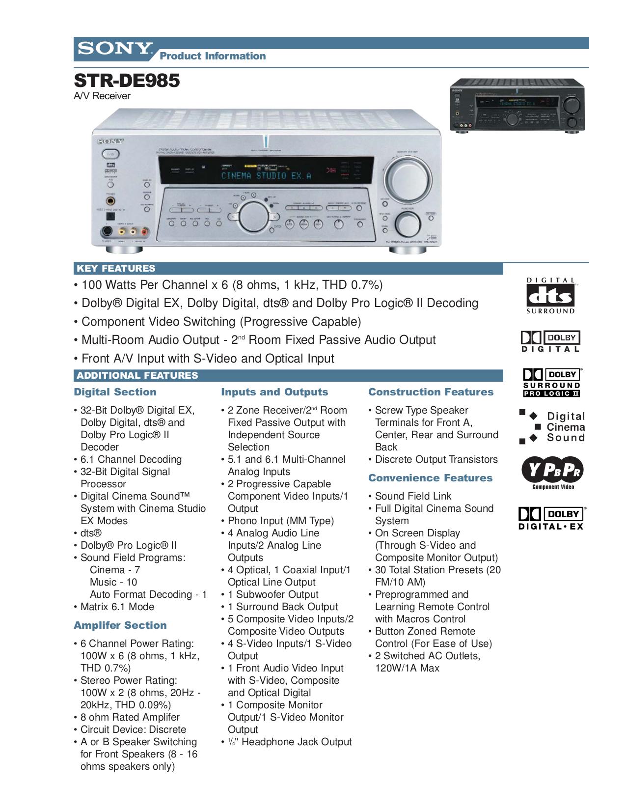 download free pdf for sony str de985 receiver manual rh umlib com sony str-de985 review sony str-de985 remote