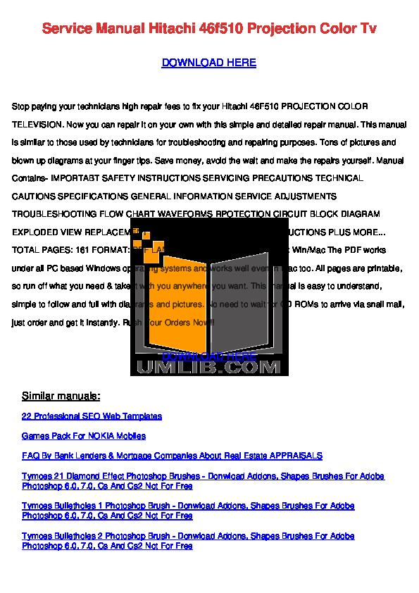 pdf for Hitachi TV 46F510 manual
