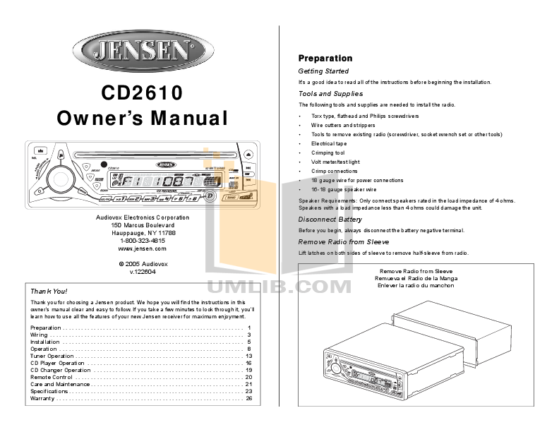 pdf for Audiovox Car Receiver CD2610 manual