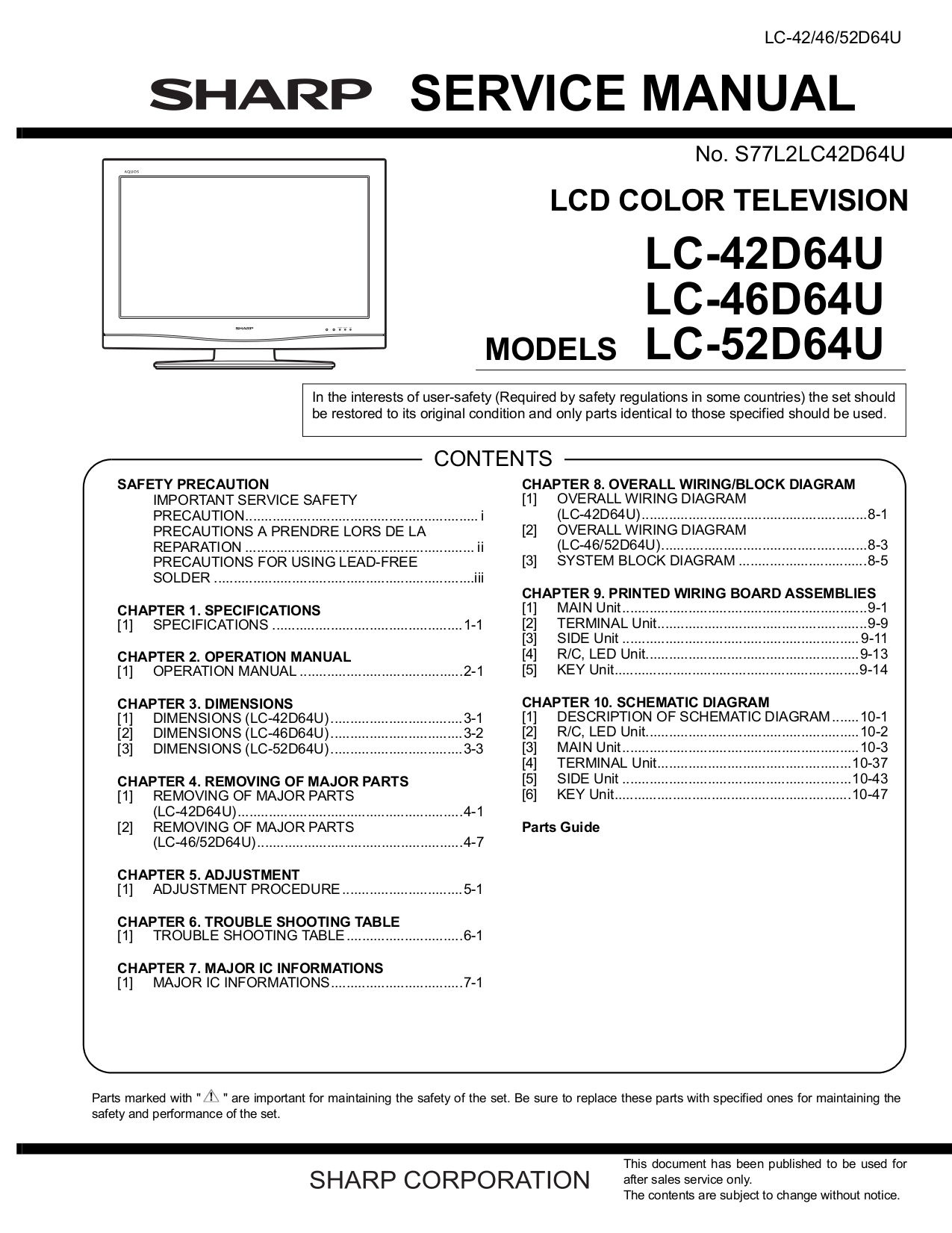 download free pdf for sharp aquos lc 52d64u tv manual rh umlib com No Power On Sharp LC-52D64U sharp aquos lc 52d64u service manual