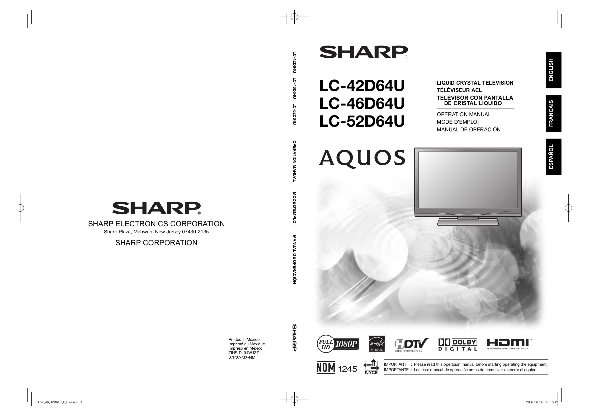download free pdf for sharp aquos lc 52d64u tv manual rh umlib com No Power On Sharp LC-52D64U sharp aquos lc-52d64u manual