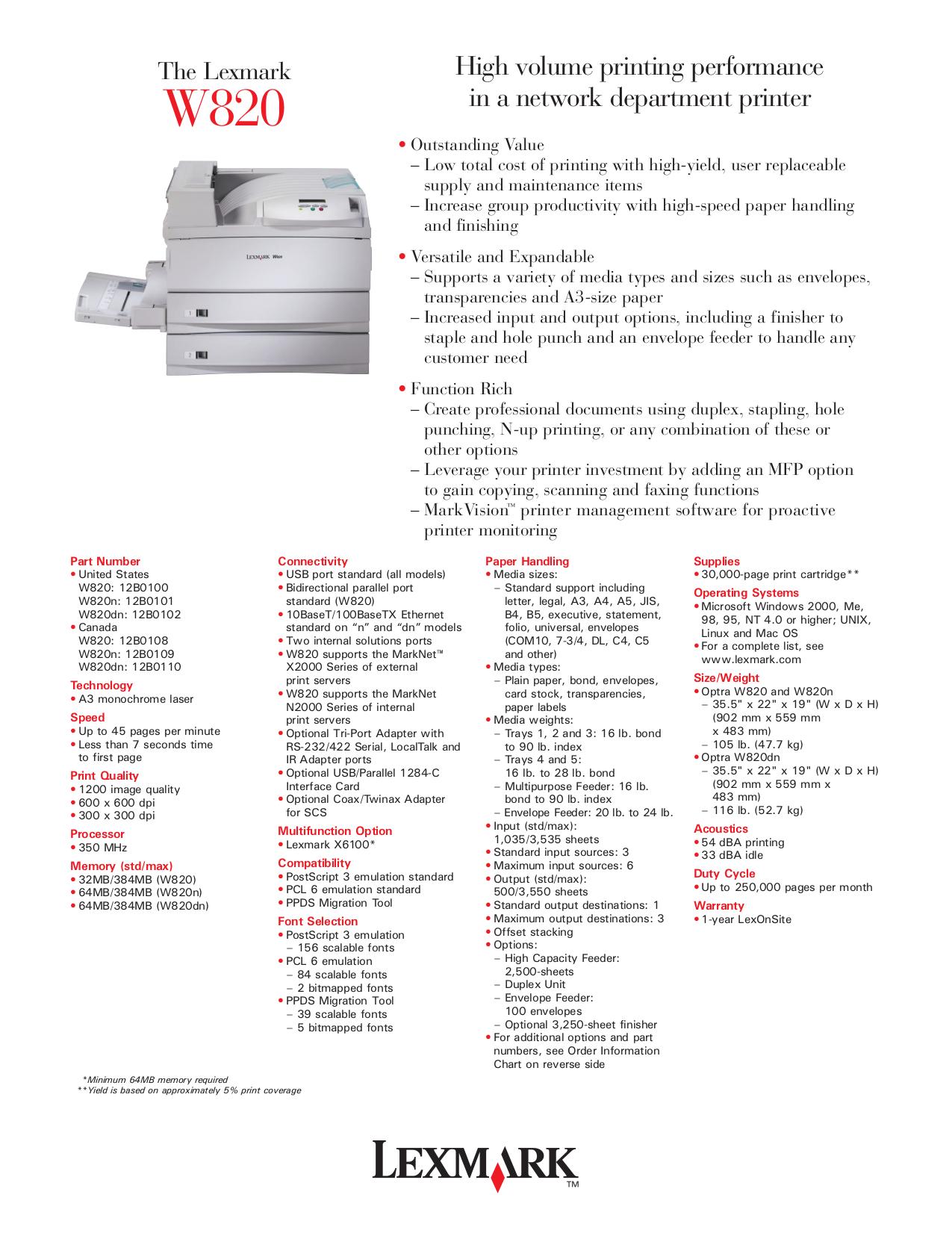 pdf for Lexmark Printer Optra W820 manual