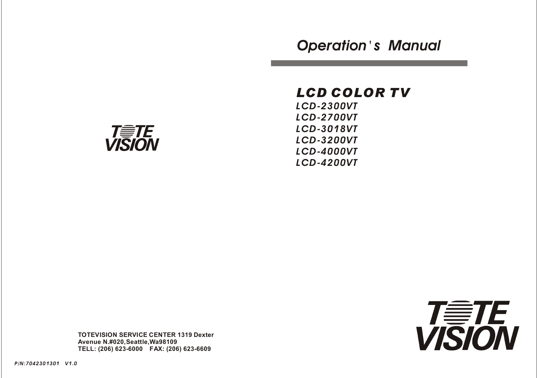 pdf for Totevision TV LCD-2700VT manual