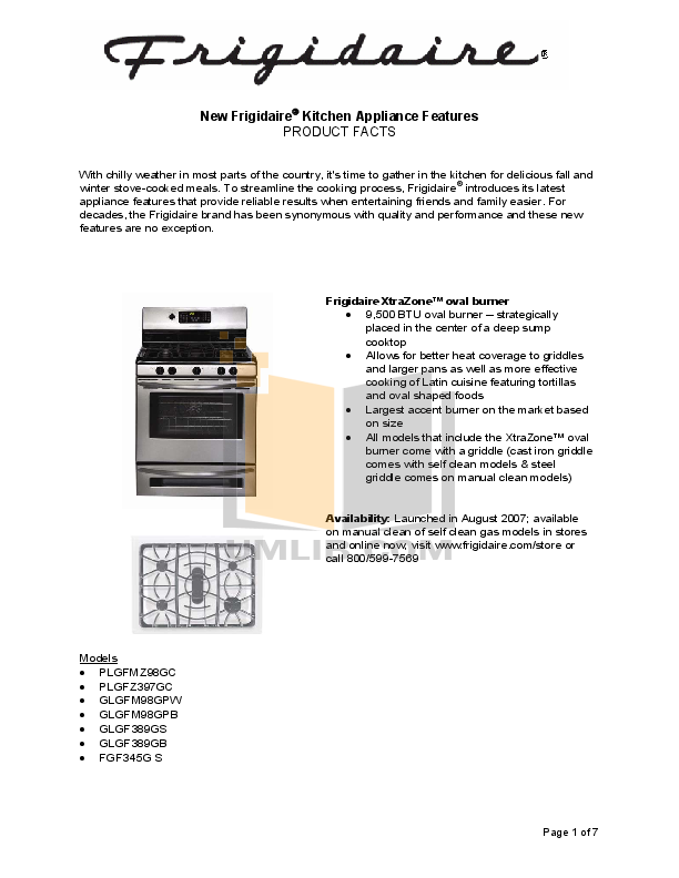 pdf for Frigidaire Range PLEFMZ99GC manual
