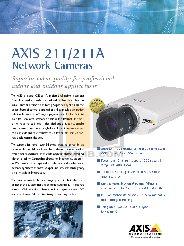 pdf for Axis Security Camera 211 manual