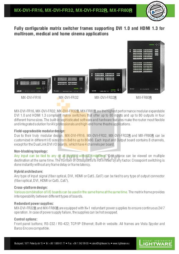 pdf for Barco Switch 8 X 8 DVI manual