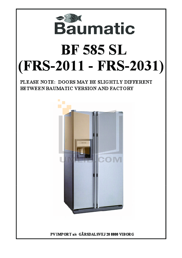 pdf for Baumatic Freezer BF585 manual