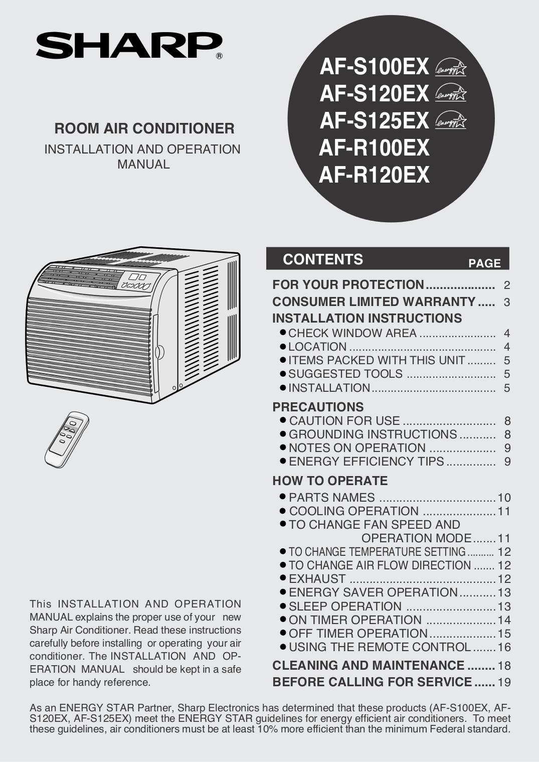 manual sharp air conditioner