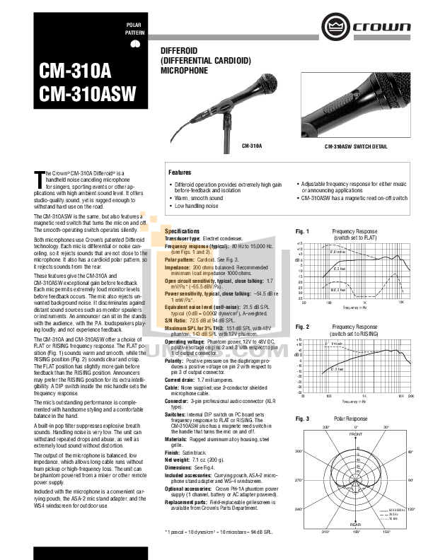 pdf for Crown Other CM-310ASW Microphones manual