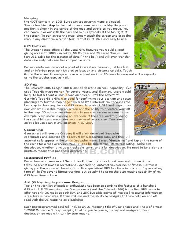 PDF manual for Garmin GPS Colorado 300