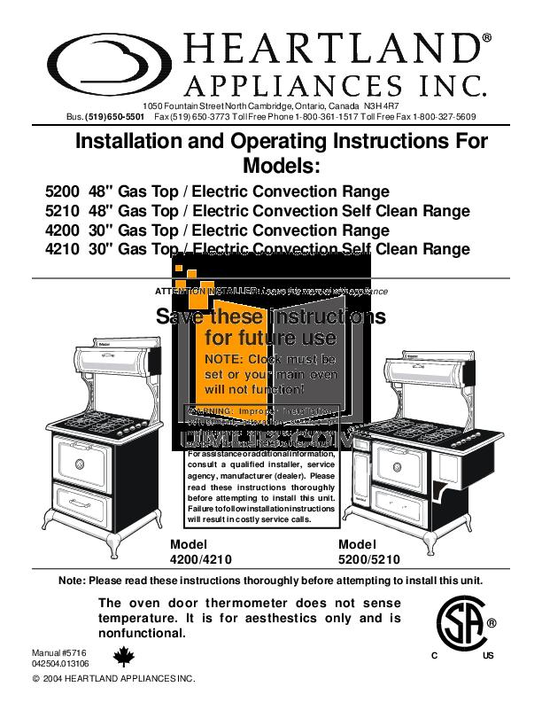 pdf for Heartland Range 3635 manual