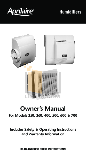 pdf for Aprilaire Humidifier 350 manual