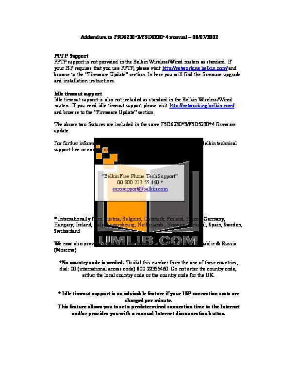 pdf for Belkin Router F5D5230-4 manual