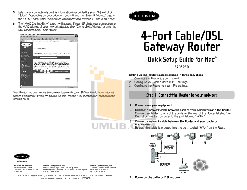 Belkin Router F5D5230-4 pdf page preview
