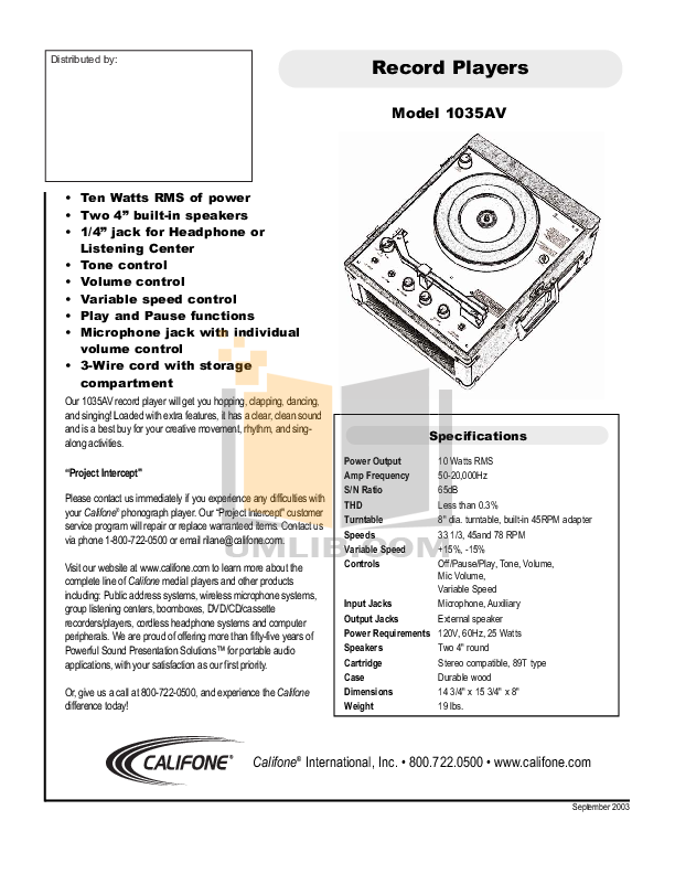 pdf for Califone Other 1035AV Record Player manual