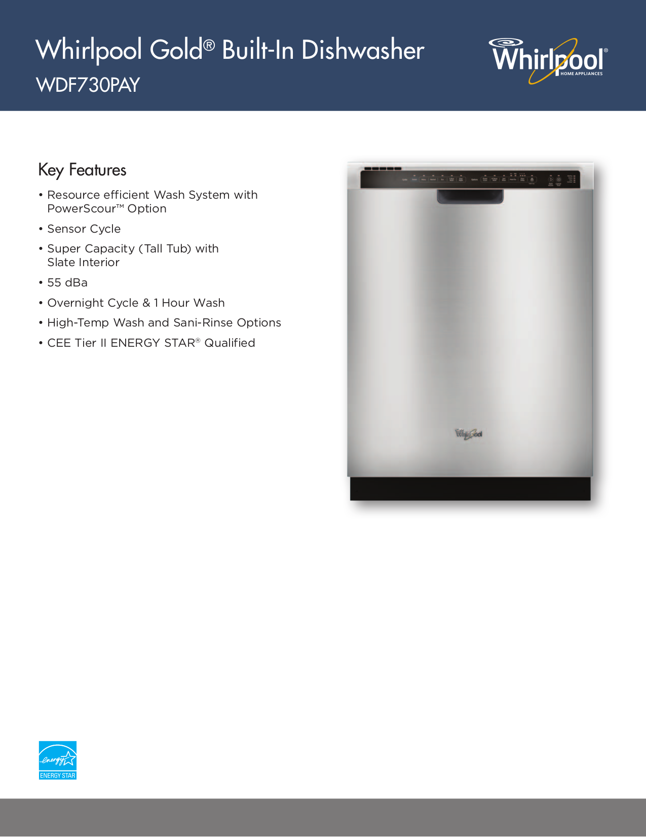 pdf for Whirlpool Dishwasher WDF730PAY manual
