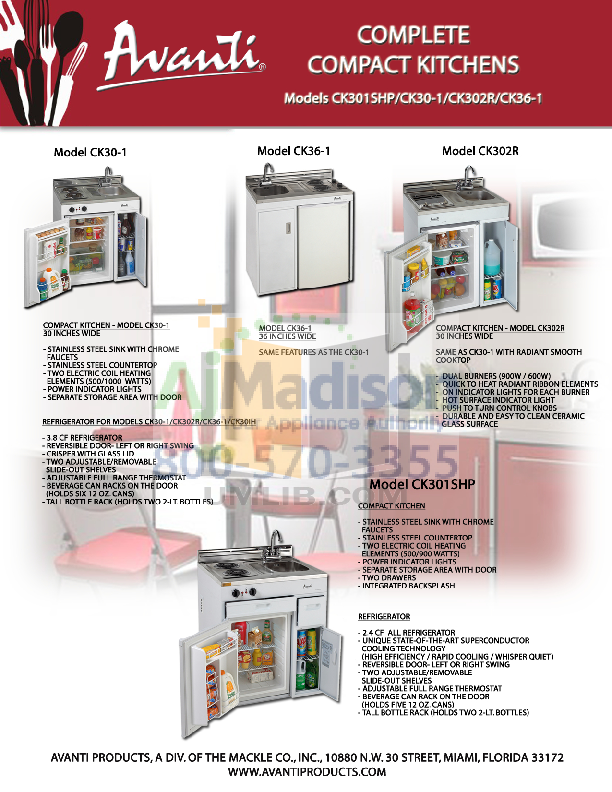 pdf for Avanti Refrigerator CK30-1 manual
