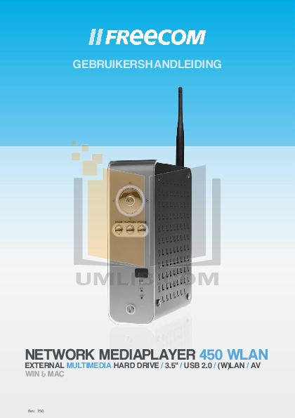 pdf for Freecom Storage Network Mediaplayer-450 WLAN manual