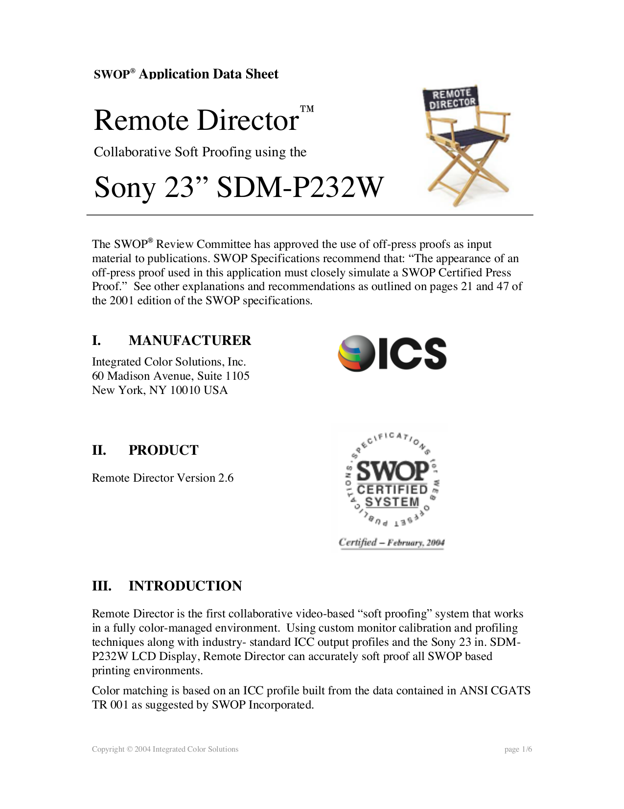 pdf for Sony Monitor SDM-P232W manual