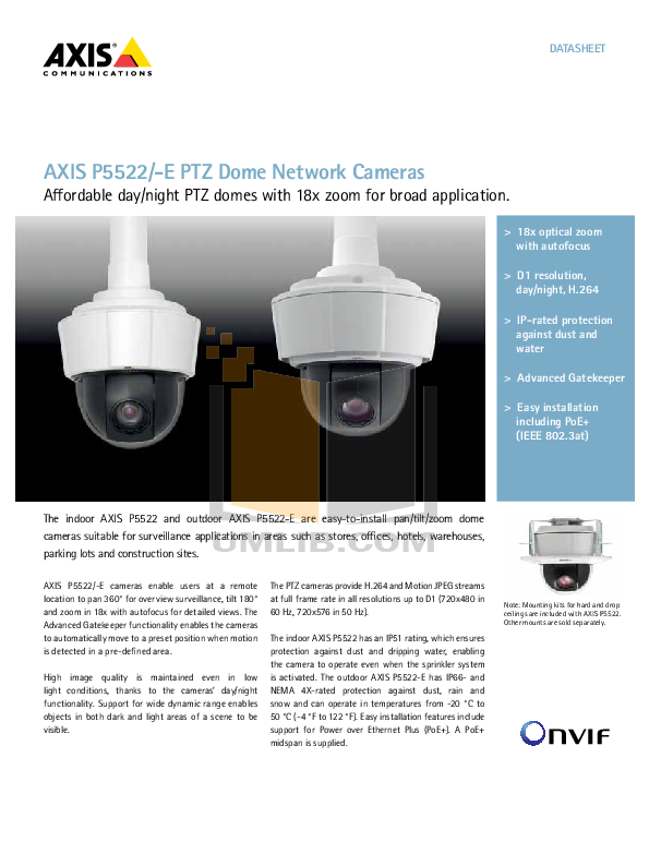 pdf for Axis Security Camera P5522 manual