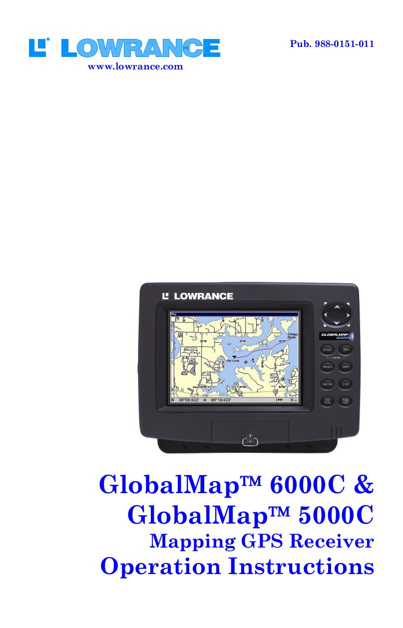 pdf for Lowrance GPS GlobalMap 6000C manual