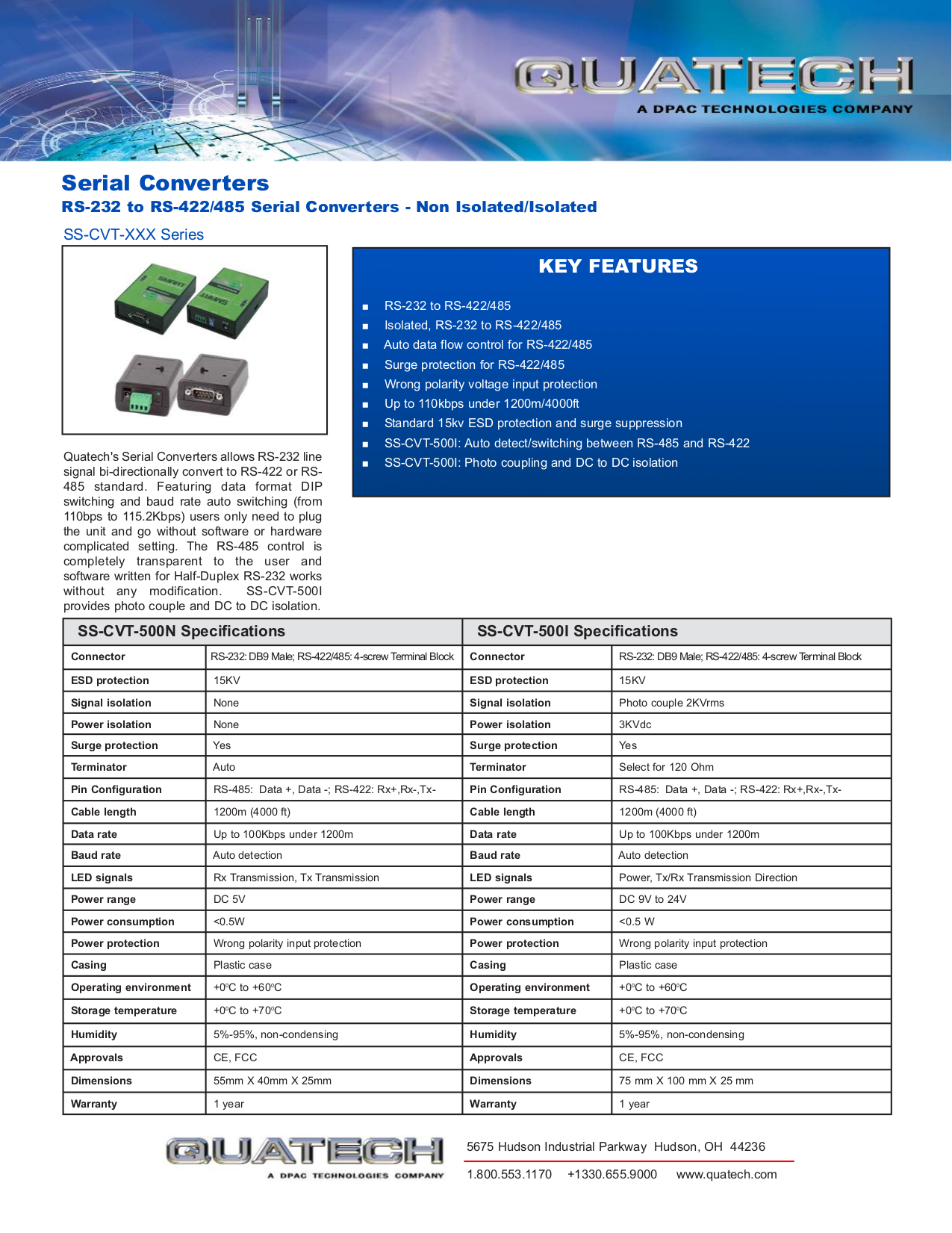 pdf for Quatech Other SS-CVT-500I Serial Converters manual