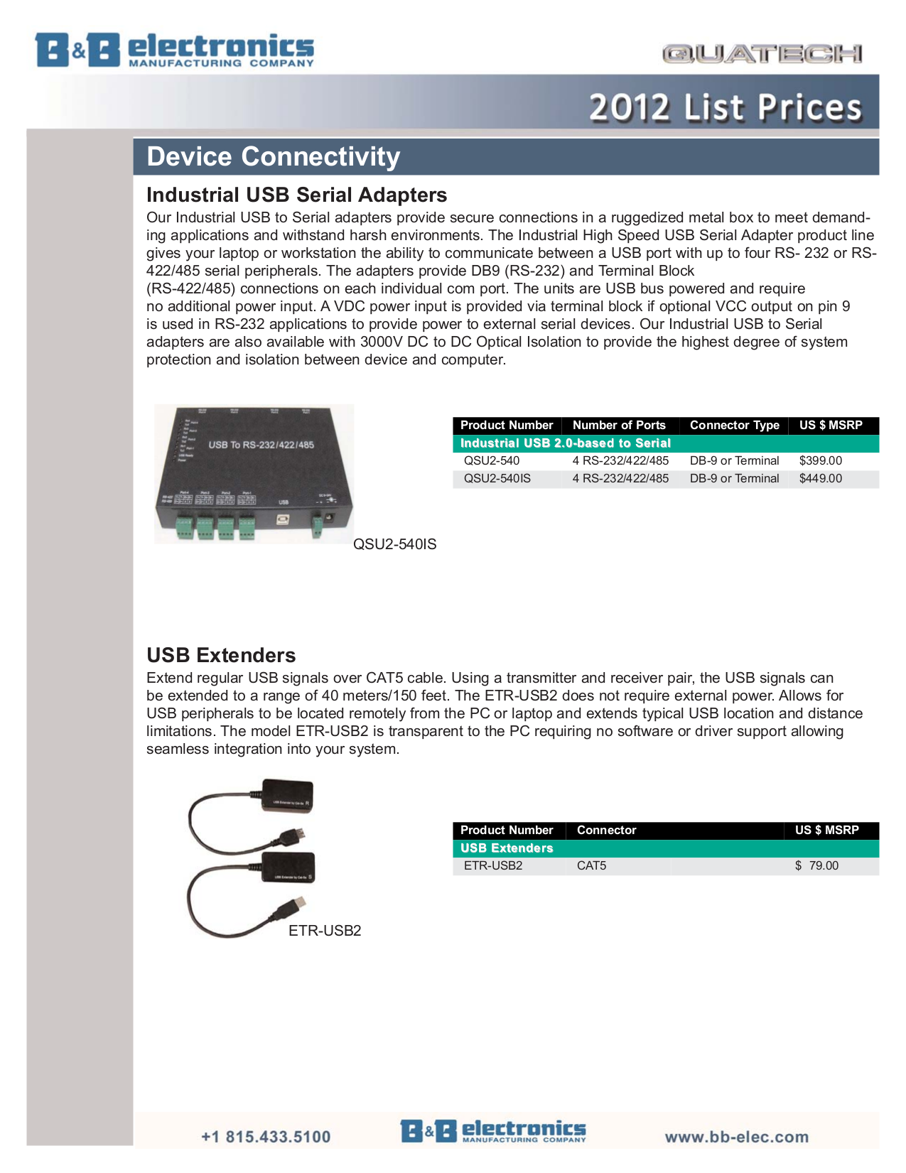 Quatech Other SS-CVT-500I Serial Converters pdf page preview