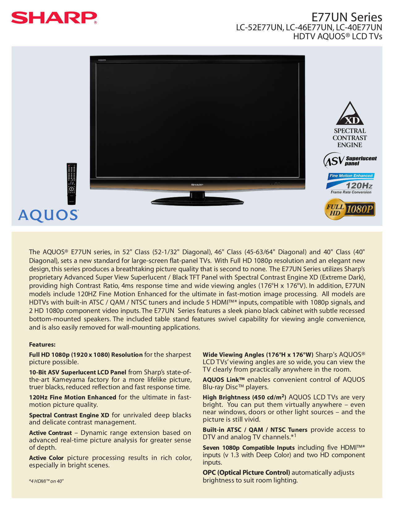 download free pdf for sharp aquos lc 52e77un tv manual rh umlib com Sharp ManualsOnline KB Sharp 6525P5