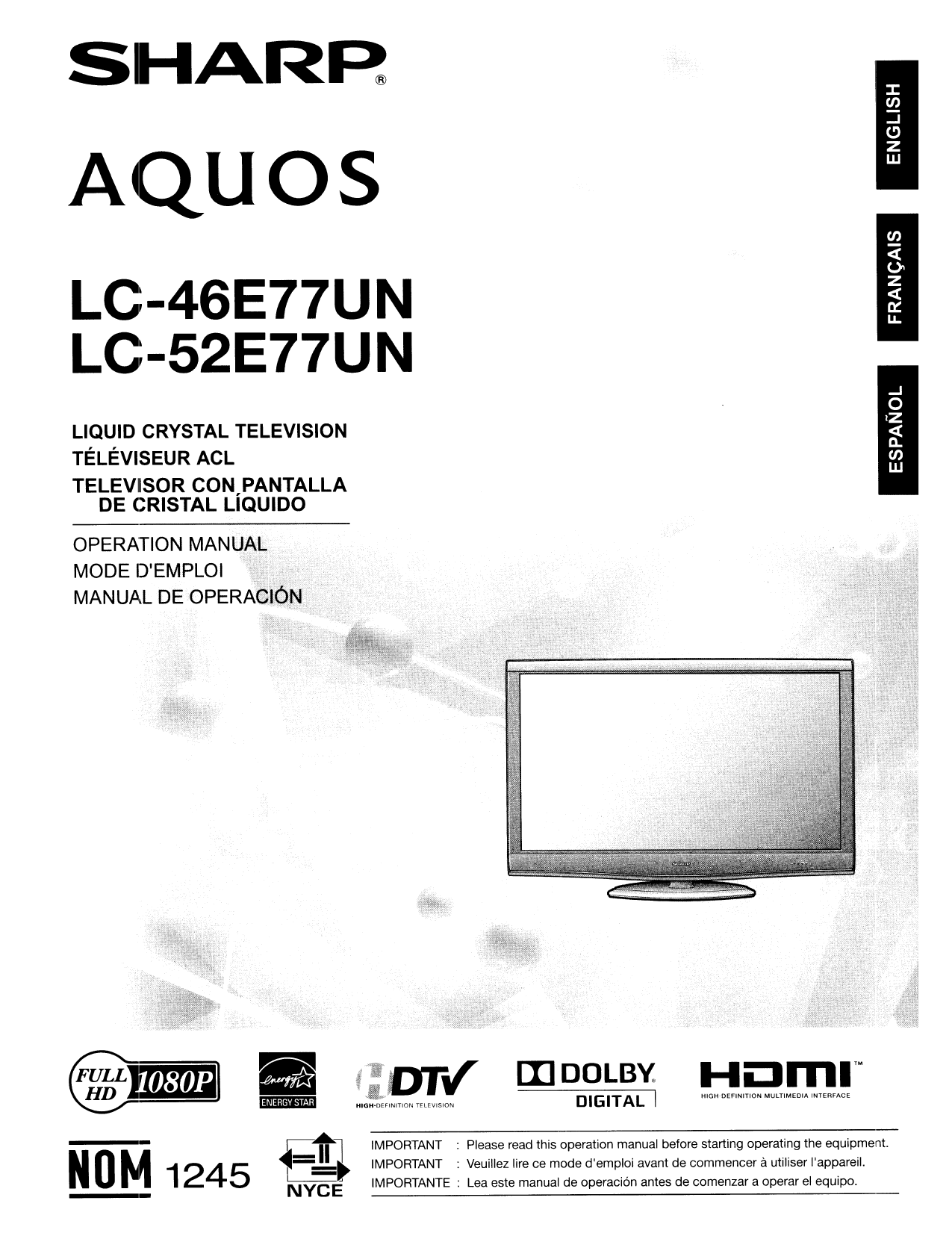 download free pdf for sharp aquos lc 52e77un tv manual rh umlib com sharp tv lc-52e77un manual sharp lc-52e77un service manual