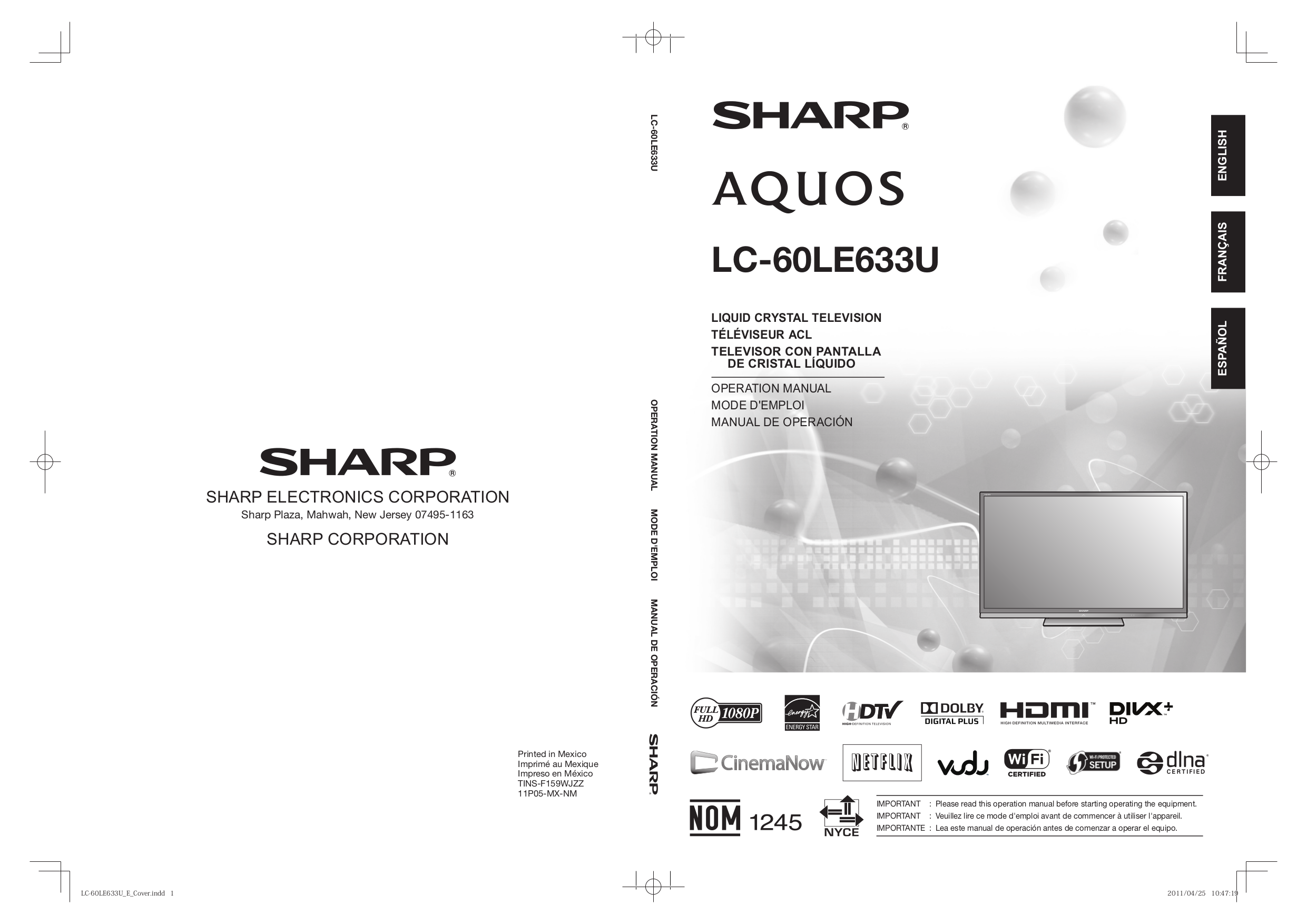 download free pdf for sharp aquos lc 52e77un tv manual rh umlib com Microwave Oven Sharp R 308J sharp aquos lc-52e77un manual