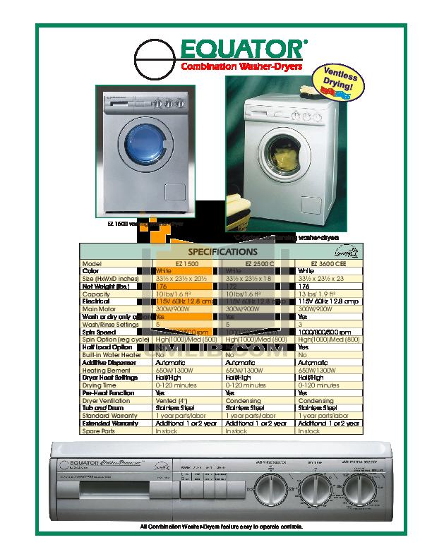 pdf for Equator Washer EZ2500C manual