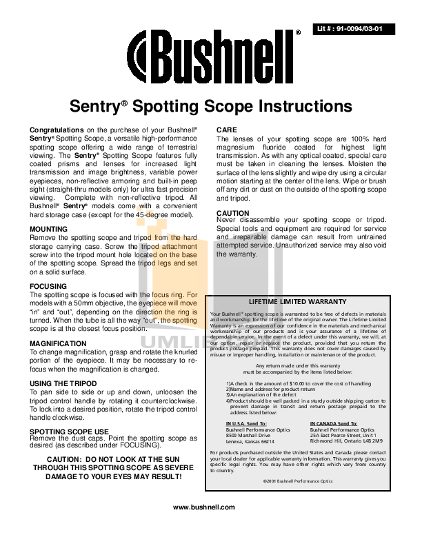 pdf for Bushnell Other Sentry 78-1517 Scopes manual