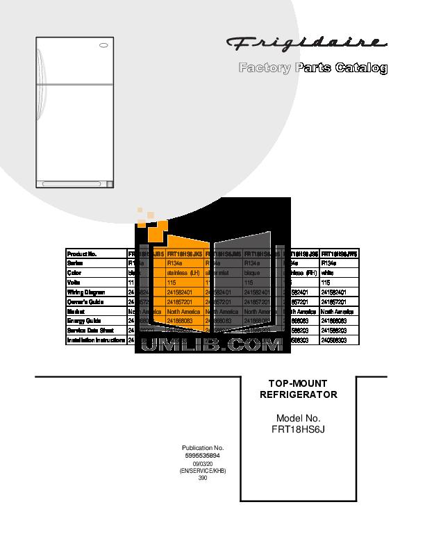 pdf for Frigidaire Refrigerator FRT18HS6J manual