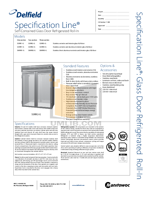 pdf for Delfield Refrigerator SSRRI1-G manual