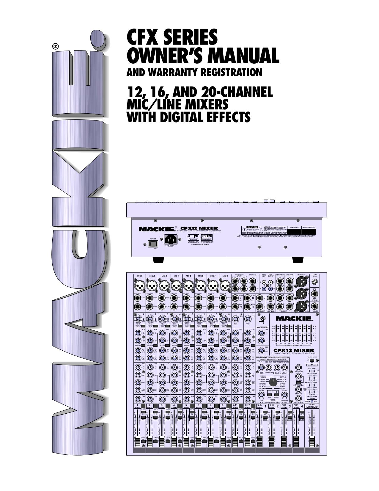 Download free pdf for mackie cfx mkii series cfx 16 line mixer.