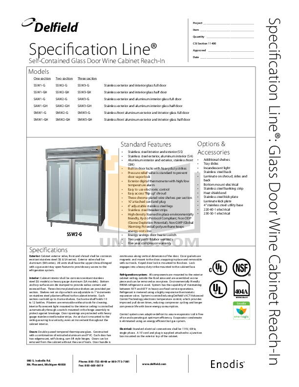 pdf for Delfield Refrigerator SSW2-GH manual