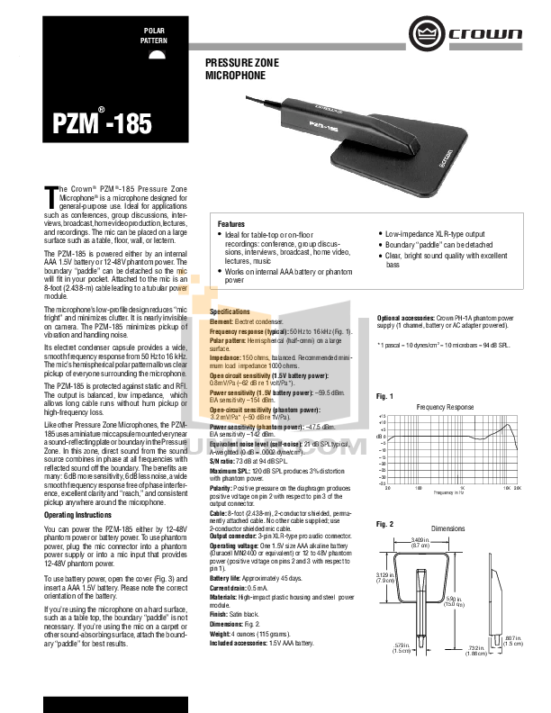 pdf for Crown Other PZM-185 Microphones manual