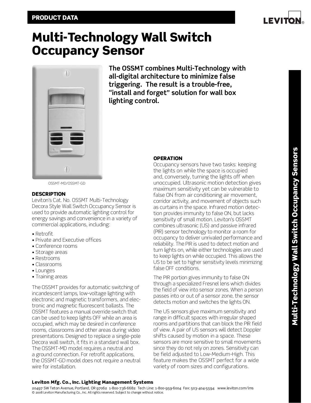 Download free pdf for Leviton OSSMT-GD Occupancy Sensor Other manual