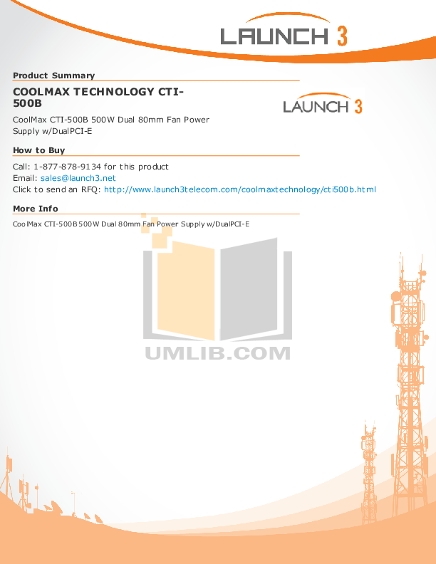 pdf for Coolmax Other CTI-500B Power Supply manual