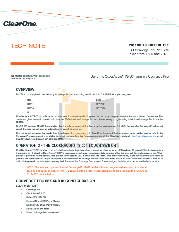 pdf for ClearOne Telephone Converge Pro 840T manual
