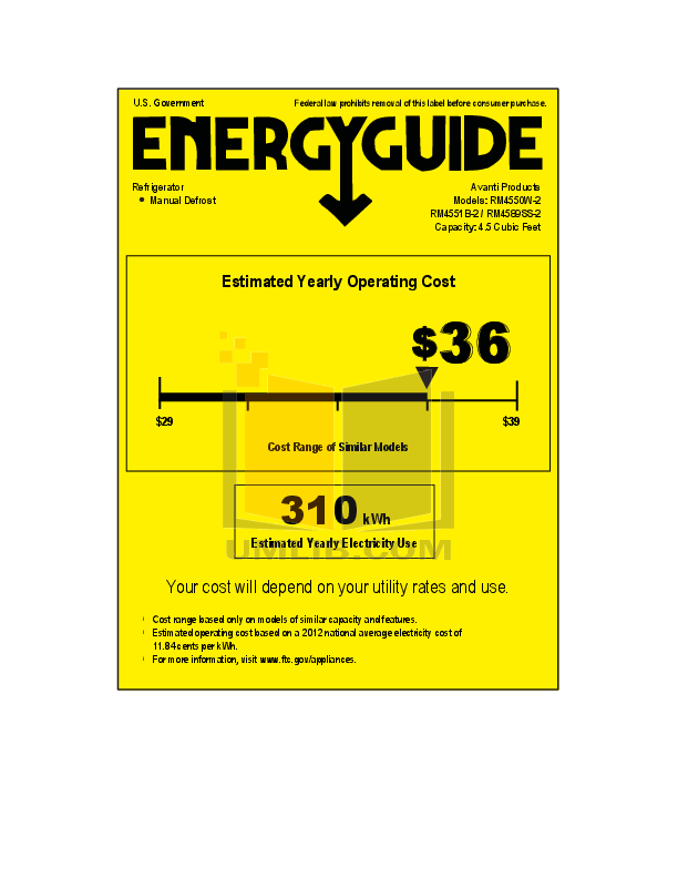 pdf for Avanti Refrigerator RM4551B manual