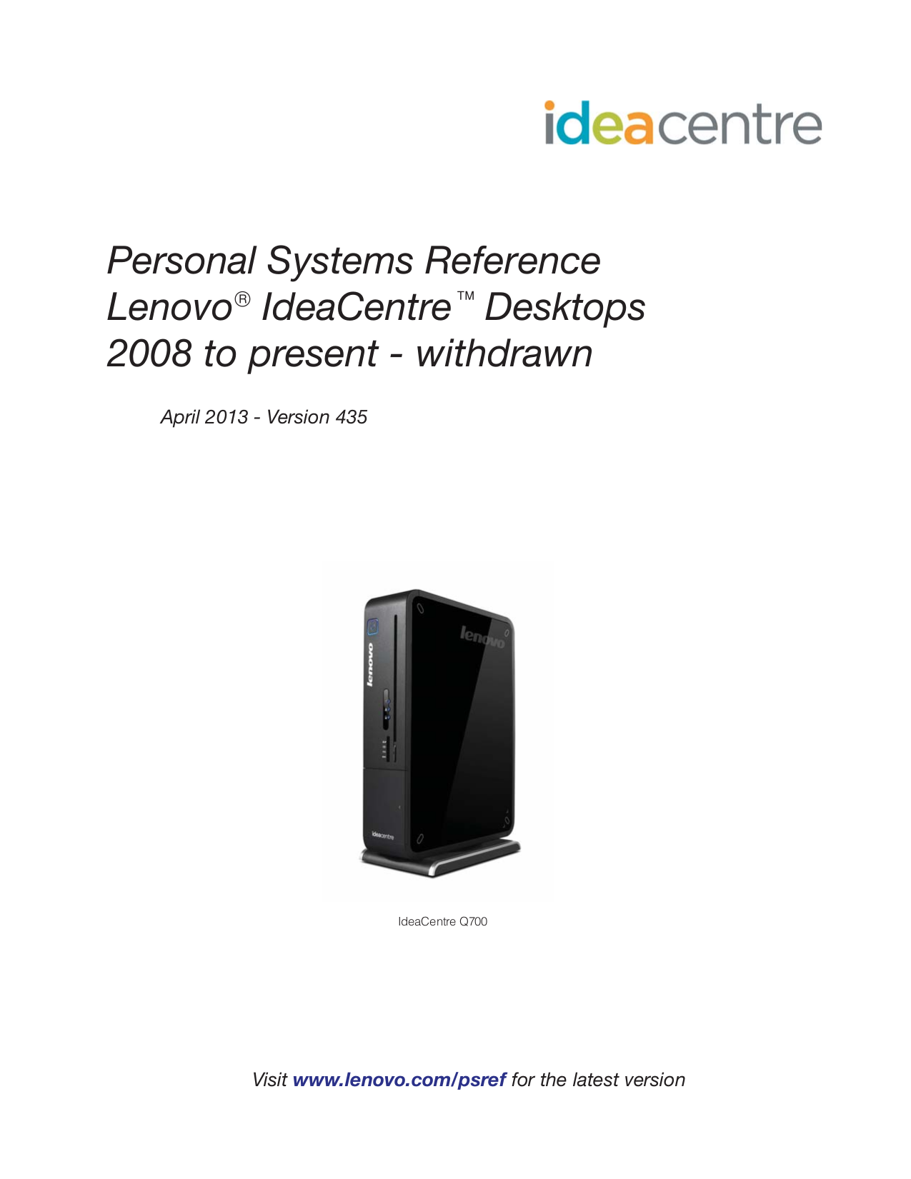pdf for Lenovo Desktop IdeaCentre Q100 3014 manual
