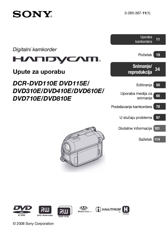 Sony handycam dcr-dvd610 operating manual pdf download.