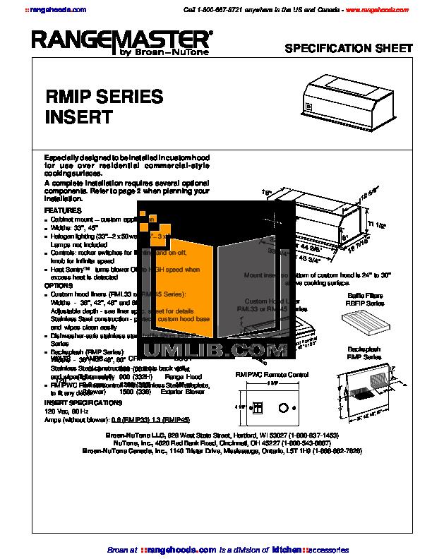 pdf for Broan-NuTone Other RMIP Series RMIP33 Hoods manual