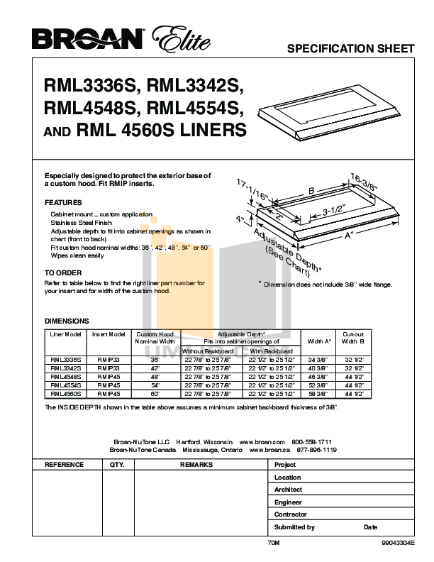 pdf for Broan-NuTone Other RMIP Series RMIP33 Hoods manual