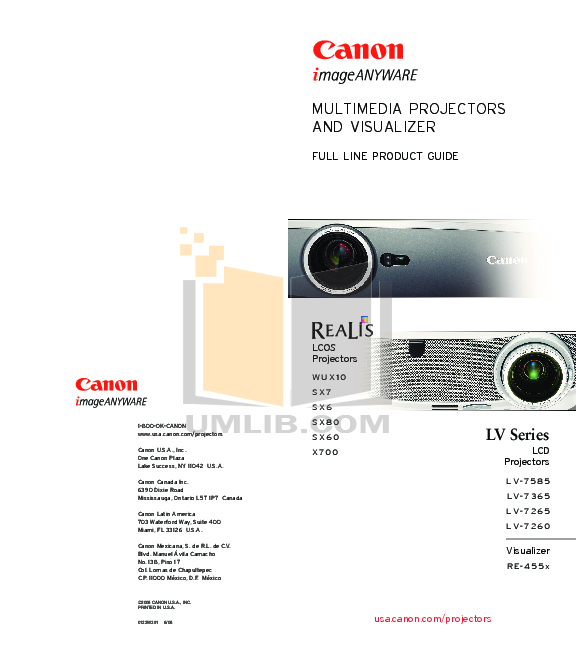 pdf for Canon Projector LV-7365 manual