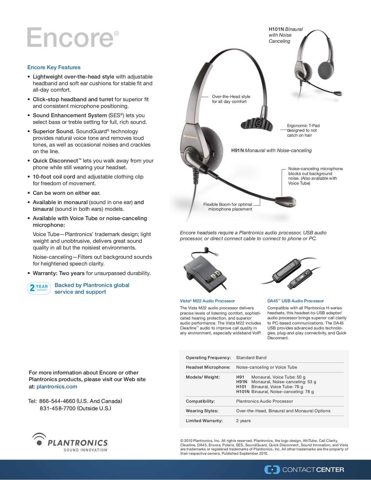 Download Free Pdf For Plantronics Encore H101n Headset Manual